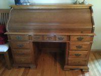 Vintage Solid Oak Roll Top Desk